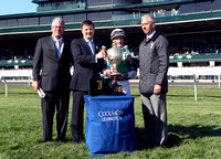 Winning Cause with Julien Leparoux wins the 2013 Coolmore Lexington for trainer Todd Pletcher and owner Alto Racing LLC not present  during the 2013 Keeneland Spring Meet. L-R Charlie O'Connor, Dermot